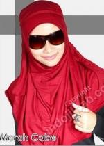 Plain Shawl Instan Merah 002