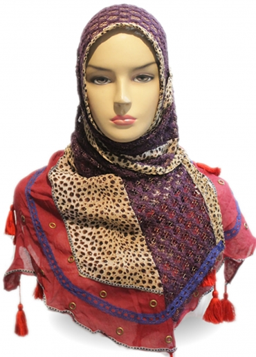 Shawl Tiger Acrylic Cotton Ungu 001