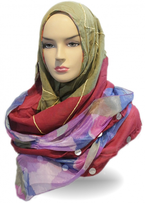 Shawl Rainbow Hijau 003